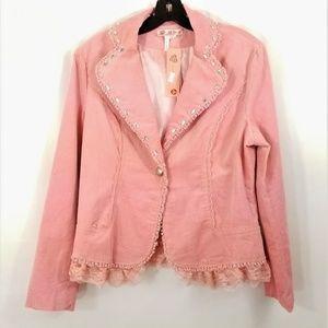 Pink Corduroy Jacket NEW Blazer MOA Lace Beads Med